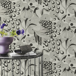 Papier peint Plume Noir Mat Fond clair -CLUB BOTANIQUE- Rasch 537529