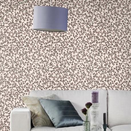 Papier peint Leopard Rose Gris -CLUB BOTANIQUE- Rasch 540239