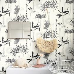 Papier peint Cocotier Noir Blanc -CLUB BOTANIQUE- Rasch 540031