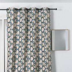 Rideau à œillets - motif géométrique bleu et beige - ALANIS - Linder
