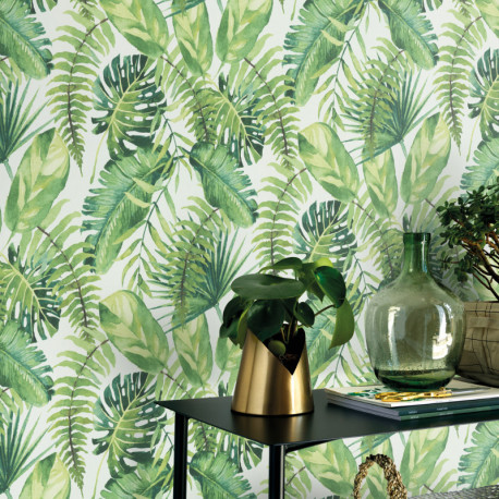Papier peint intissé Palmes Fever vert - Erismann