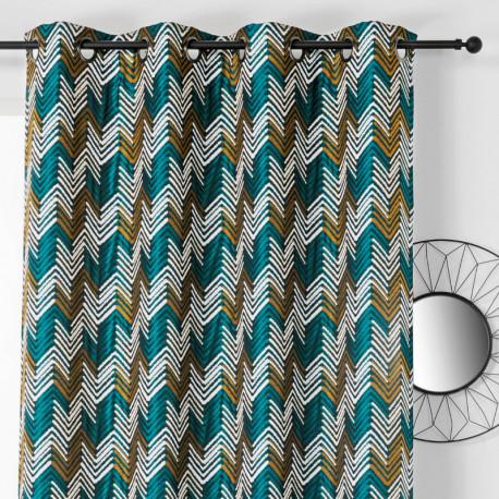 Rideau à œillets - motif chevrons émeraude et doré - APACHE - Linder