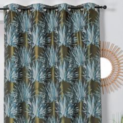 Rideau à œillets - motif palmes bleu et kaki - BALI - Linder