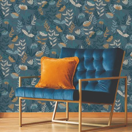Papier peint vinyl sur intissé ABSTRACT FLOWERS bleu - Lutèce