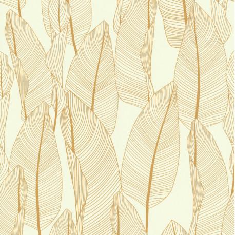 Papier peint vinyl sur intissé BANANIER jaune or - Lutèce