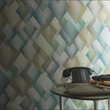Papier peint intissé CATWALK losange vert bleu gris - Collection DANDY - CASAMANCE