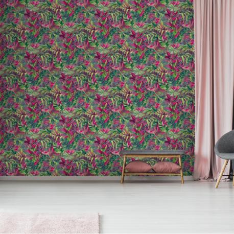 Papier peint à motif PARADISE FLOWER rose JF2303 - JUNGLE FEVER - Grandeco