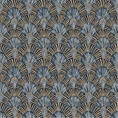 Papier peint à motif DECO FAN bleu JF3002 - JUNGLE FEVER - Grandeco