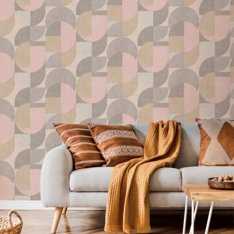 Papier peint à motif BAUHAUS beige et rose JF3101 - JUNGLE FEVER - Grandeco