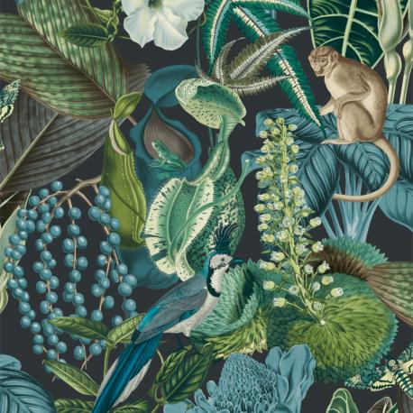 Papier peint à motif AMAZON bleu JF2202 - JUNGLE FEVER - Grandeco