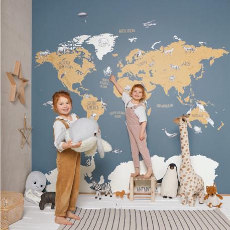 Papier peint à motif WORLD MAP bleu et beige OUP102032066 - OUR PLANET - Caselio