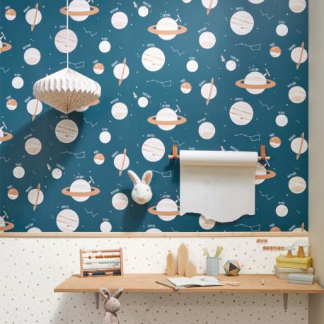 Papier peint à motif UNIVERSE bleu jean et beige OUP101906011 - OUR PLANET - CASELIO