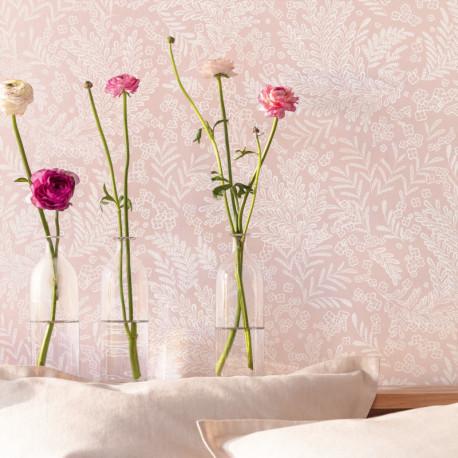 Papier peint à motif SEPTEMBER rose nude FLP101894040 - FLOWER POWER - CASELIO