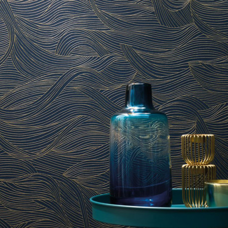 Papier peint à motif ALULA bleu nuit B74360620 - BLOSSOM - Casamance