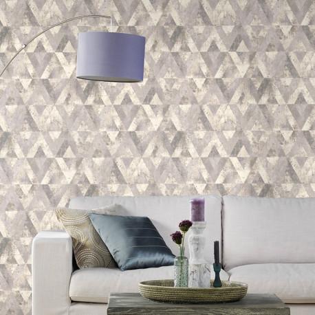 Papier peint motifs MAYA gris argent 535518 - YUCATAN - RASCH