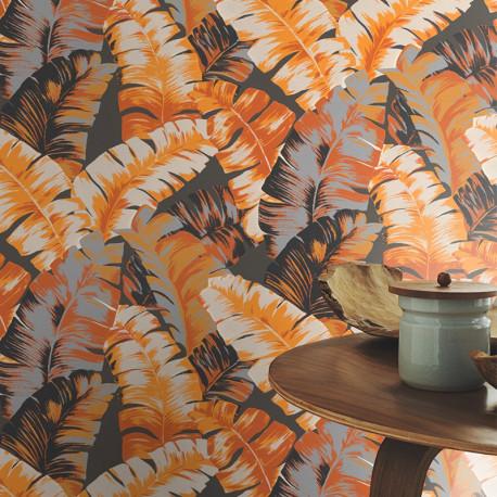 Papier peint motifs JUNGLE marron 535631 - YUCATAN - RASCH