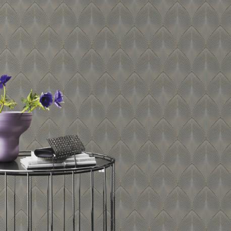 Papier peint à motif COME Art Deco gris 535853 - YUCATAN - RASCH