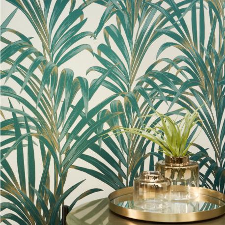 Papier peint Fougères vert et or - 1930 - Casadeco - 28927222