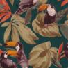 Papier peint Toucans noirs vert émeraude - Rasch - 807509
