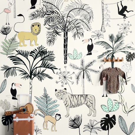 Panoramique Jungle Kids blanc - BAMBINO - Rasch - BBN842173