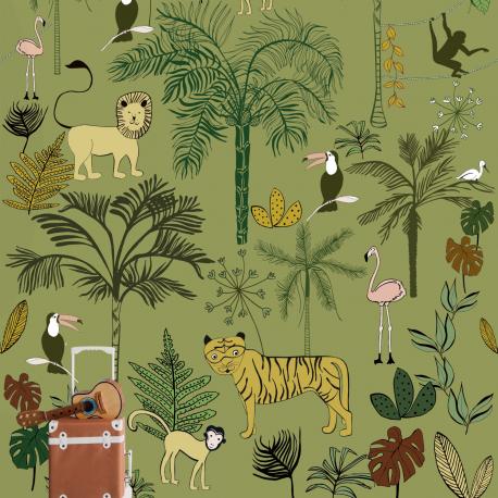 Panoramique Jungle Kids vert kaki - BAMBINO - Rasch - BBN842142