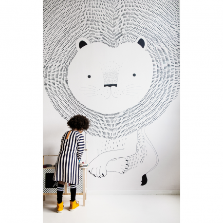 Panoramique Lion noir et blanc - BAMBINO - Rasch - BBN842227