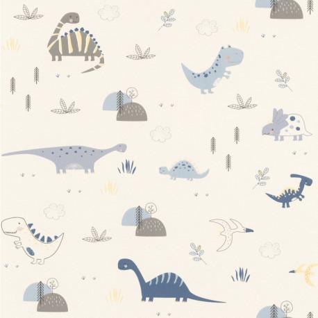 Papier peint Dinosaures bleu - BAMBINO - Rasch - BBN249347