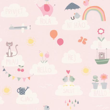 Papier peint Hello rose - BAMBINO - Rasch - BBN249453