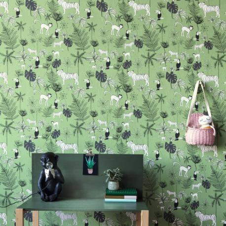 Papier peint Jungle Kids vert kaki - BAMBINO - Rasch - BBN531817
