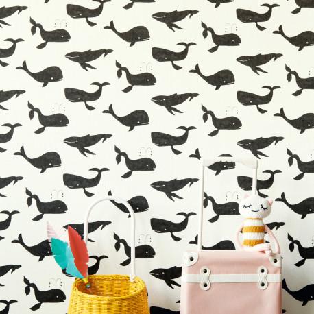 Papier peint Moby Dick noir et blanc - BAMBINO - Rasch - BBN531503