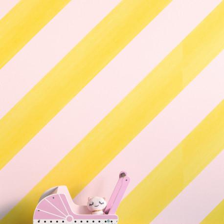 Papier peint Rayure rose et jaune - BAMBINO - Rasch - BBN531619