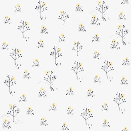 Papier peint Arbre Point gris et jaune - BABY LAND - Lutèce 21103