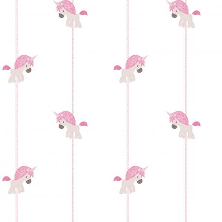 Papier peint Licorne beige et rose - BABY LAND - Lutèce 5455