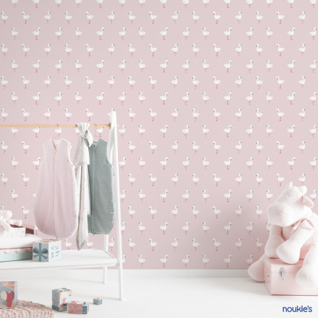 Papier peint Flamant rose pailleté - BABY LAND - Lutèce 21121