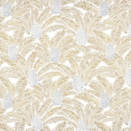 Papier peint Palmeta blanc et doré - ORPHEE - Casamance - 74742044