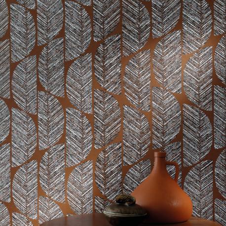 Papier peint Abelia terracotta - ORPHEE - Casamance - ORP74721224