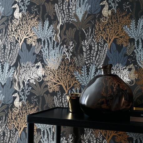 Papier peint Posidonie noir - ORPHEE - Casamance - ORP74700406