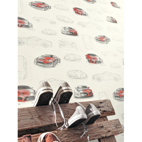 Papier peint Concept Car rouge - ONLY BOYS - Caselio - OLB64738010