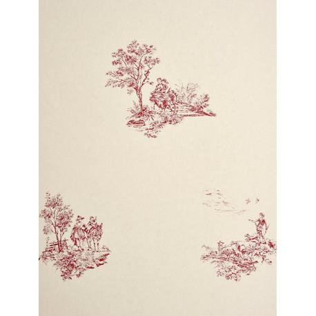 Papier peint à motifs placés Jouy rouge - Chantilly - Casadeco