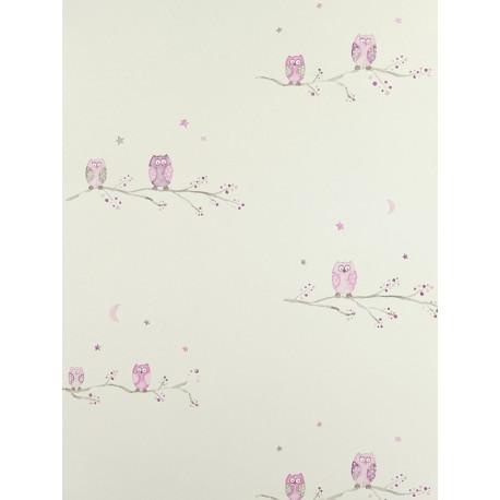 Papier Peint à motifs Chouettes - mauve - Arc-en-ciel - Casadeco