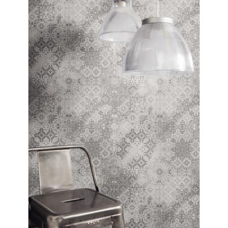 Papier peint Mosaïque Dentelle gris - METAPHORE - Caselio - MTE65569090