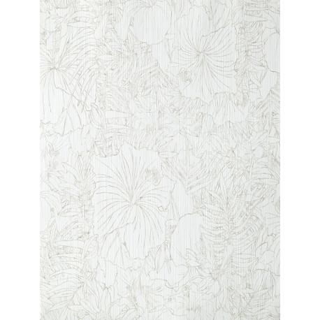 """Papier peint AMAZONIA """"fleurs"""" blanc et gris par Caselio"""