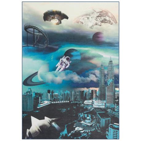 """Tapis velours ras """"Astronaute bleu"""" - Flash ME GUSTA 80x150"""