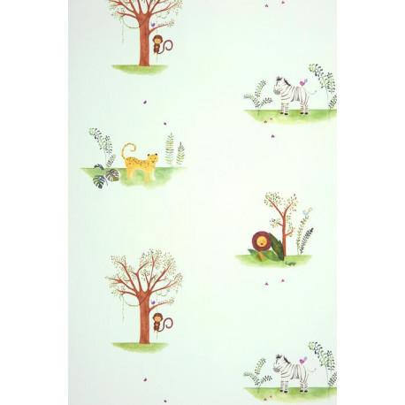 Papier peint ALICE et PAUL à motif jungle vert - Casadeco