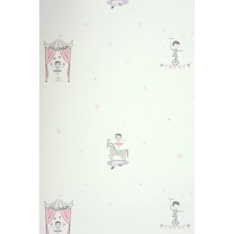 Papier peint ALICE et PAUL à motif cirque violet irisé - Casadeco